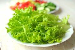 Ny organisk salladfrisee och skivade grönsaker på de vita plattorna på trätabellen Royaltyfria Bilder
