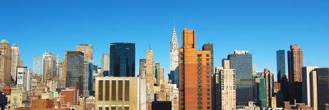ny panorama- horisont york för stadsdag Fotografering för Bildbyråer