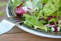 Ny platta för grön sallad, med spenat, arugula, bindsallat och grönsallat sund mat table trä arkivfoton