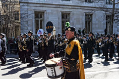 NY Police Department in Saint Patrick Day Parade. NYPD Band marching in St. Patrick's Day Parade - Circa 2011 Stock Photo