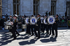 NY Police Department in Saint Patrick Day Parade. NYPD Band marching in St. Patrick's Day Parade - Circa 2011 Stock Images