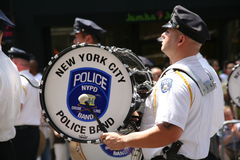 NY Police gay drummers royalty free stock photos