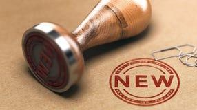 Ny produkt- eller servicemeddelande annonsering av begrepp Arkivbilder