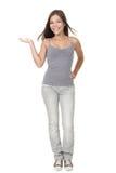 ny produkt som visar deltagarekvinnan Arkivbild