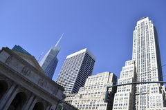 NY public library façade with bryant park on the background Stock Photography