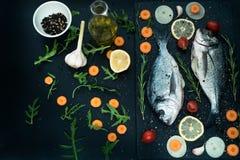 Ny rå okokt doradofisk med citronen, örter, olja, grönsaker och kryddor på den svarta bakgrunden, bästa sikt Arkivbild