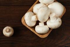 Ny rå porcinisopp plocka svamp i fyrkantig bambubunke arkivfoto