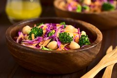 Ny röd kål, kikärt, morot och broccolisallad royaltyfri bild