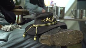 NY regiment Civil War soldiers hat. View of NY regiment Civil War soldiers hat stock video