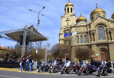 Ny säsongöppning för motorcykel, Varna Bulgarien Arkivfoto