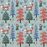 Ny sömlös räv för vinterjulmodell, kanin, champinjon, växter, snö, träd Royaltyfria Bilder