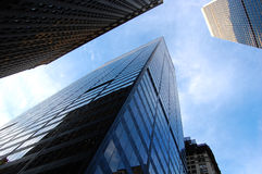 NY's skyscrapers. This was taken in the street of NYC Stock Photography