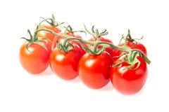 Ny saftig röd gruppcloseup för körsbärsröd tomat som isoleras på vit bakgrund Royaltyfria Bilder