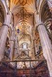 Ny Salamanca för stenkolonnkorstolar domkyrka Spanien Arkivfoton