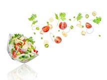 ny sallad Blandade fallande grönsaker Royaltyfria Bilder