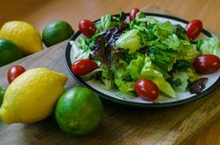 Ny sallad fr?n olika typer av gr?splaner och k?rsb?rsr?da tomater som kryddas med olivolja- och limefruktfruktsaft med citronen royaltyfri bild