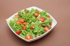 Ny sallad - grönsallat och tomater Arkivfoto
