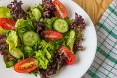 Ny sallad med blandade gräsplaner, den körsbärsröda tomaten och gurkan Arkivbilder
