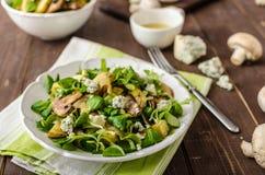 Ny sallad med grönsaken och ädelost arkivbild