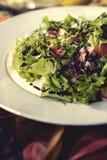 Ny sallad med grönsallat och tomater på en platta Royaltyfria Foton