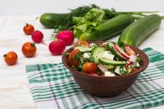Ny sallad med gurkor, tomater, rädisa Arkivbild