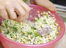 Ny sallad med på burk havre, kål och persilja Royaltyfria Foton