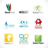 ny set för 9 logotyper stock illustrationer