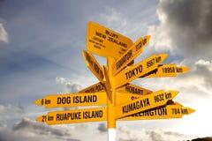 ny signpost zealand för rättfram landmark Arkivfoton