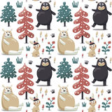 Ny sömlös vinterjulmodell som göras med björnar, kanin, champinjon, växter, snö Arkivfoto
