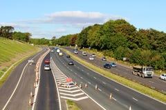 Ny snedstegväg på motorwayen M6 på Lancaster Royaltyfria Bilder