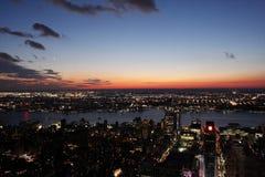 ny solnedgång york för stad Arkivfoto