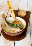 Ny soppa med fisken royaltyfri foto