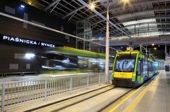 Ny spårvagnlinje i tunnel i Poznan, Polen Fotografering för Bildbyråer
