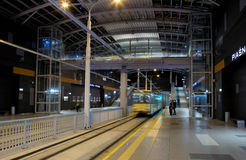 Ny spårvagnlinje i tunnel i Poznan, Polen Royaltyfria Bilder