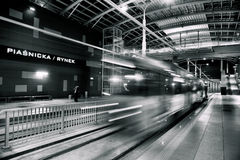 Ny spårvagnlinje i tunnel i Poznan, Polen Royaltyfri Bild