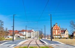 Ny spårvagnlinje Strasbourg - Kehl som förbinder Frankrike och Tyskland Ett stopp på den franska sidan Arkivbilder