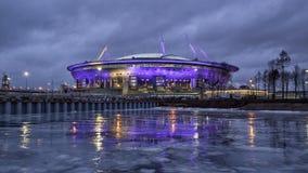 Ny stadion i St Petersburg på natten arkivbilder