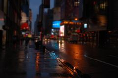 NY street at night blurred view stock photo