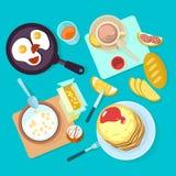 Ny sund frukostmat och sikt för drinkar som bästa isoleras på blå backgraund vektor illustrationer