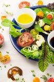 Ny sund sallad med tomater, örter, feta och olja Royaltyfri Fotografi