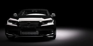 Ny svart metallisk sedanbil i strålkastare Modern desing som är brandless Arkivfoton