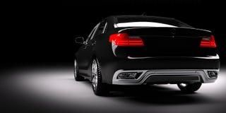 Ny svart metallisk sedanbil i strålkastare Modern desing som är brandless Royaltyfri Bild