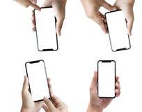 ny telefonteknologismartphone med den tomma skärmen och modern fra Royaltyfria Foton