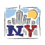 NY text creative hand drawn letters Stock Photo