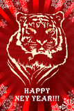 NY Tiger. My illustration in corel draw and photoshop. This illustration for design postcard on new year celebration Royalty Free Stock Images