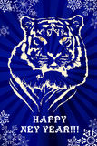 NY Tiger blue. My illustration in corel draw and photoshop. This illustration for design postcard on new year celebration Royalty Free Stock Photography