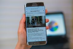NY times web site on mobile phone stock image