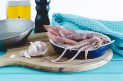 Ny tioarmad bläckfisk som är klar att lagas mat Royaltyfria Foton