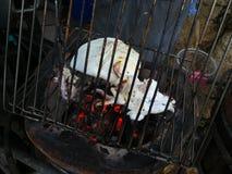 Ny tioarmad bläckfiskgrillfest som grillas på kolugnen Arkivbild