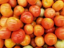 Ny tomattextur i korgen på marknaden, foto som tas av mobiltelefonkameran Royaltyfri Foto